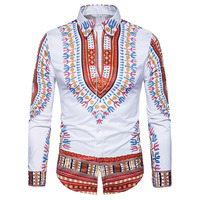 Traditional African Dashiki Shirt Men 2017 3D Print Men Shirt Long Sleeve Slim Fit Male Shirts