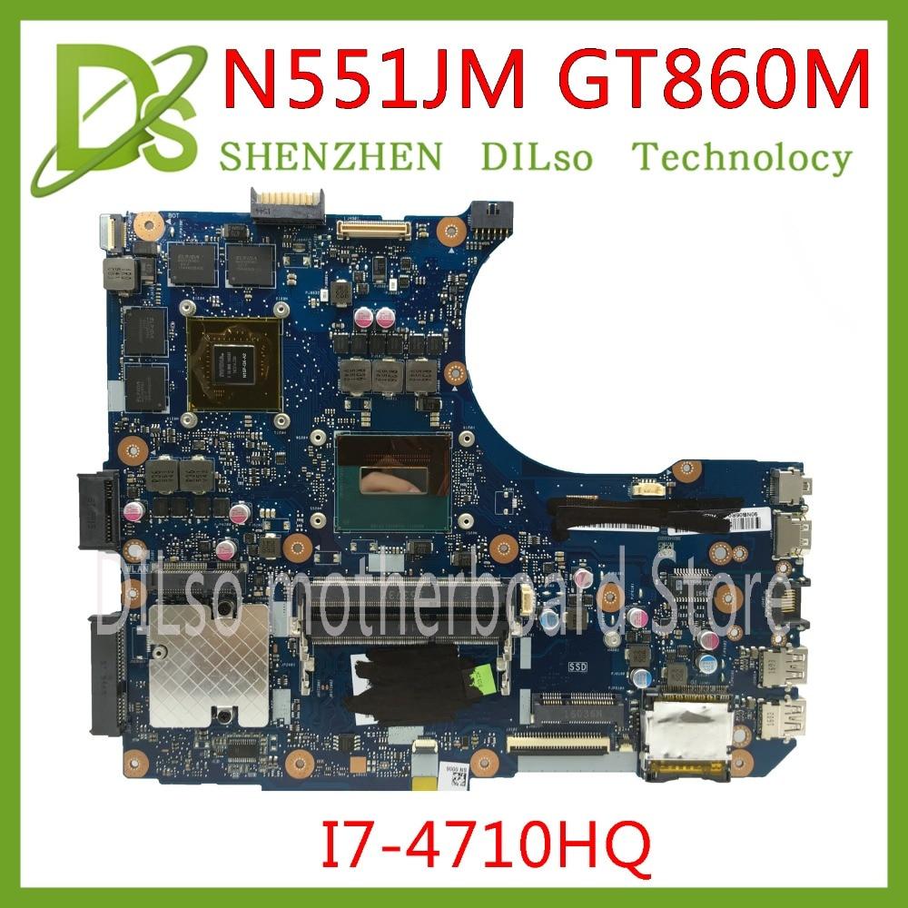 KFU N551JM עבור ASUS G551JM N551JM N551JW לוח האם N551JM REV2.0 i7-4710HQ GTX860M USB2.0 HM86 DDR3 VRAM בדיקה מלאה