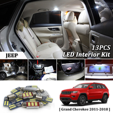 13Pcs White Canbus led Car interior lights upgrade Kit for 2011- 2016 2017 Jeep Grand Cherokee led interior Dome Trunk lights цена в Москве и Питере