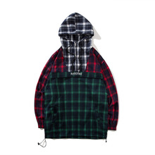 Harajuku Hoodies Men Patchwork Plaid Thin Hooded Pullover High Street Fashion Cotton Hip Hop Streetwear O-neck Hoodie Autumn