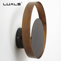 Luxurious Nordic Copper Wall Lamp Round Head Shade Wall Lamps Hotel Wall Lights LED Retro Light Fixture Post Modern Art Lighting