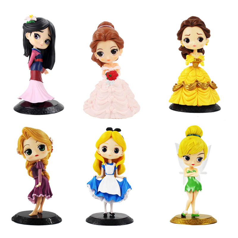 11cm Q Posket Princess Figure Mulan Snow White Rapunzel Belle Figure Cake Decorations Action PVC Model Toy Girl Birthday Gifts