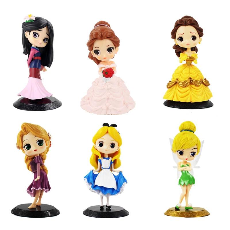 11cm Q Posket Princess Figure Mulan Snow White Rapunzel Belle Figure Cake Decorations Action PVC Model Toy Girl Birthday Gifts