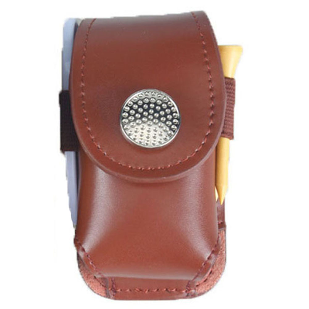 Leather Portable Mini Golf Ball Bag Tee Holder Waist Pouch Free Shipping