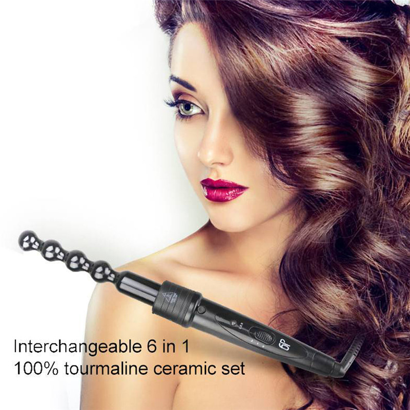6 In 1 Curling Ceramic Hair Straightener Iron Interchangeable Hair Curler waver LED display Curling Wand Styling Tools 3 in 1 straightening corrugated iron ceramic hair straightener and hair curler professional curling wand iron hair styling tools