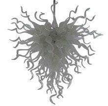 лучшая цена 100% Hand Blown White Glass Hanging Chandelier Living Room Art Decor LED Lighting Modern Design Home Chandelier Lighting Fixture