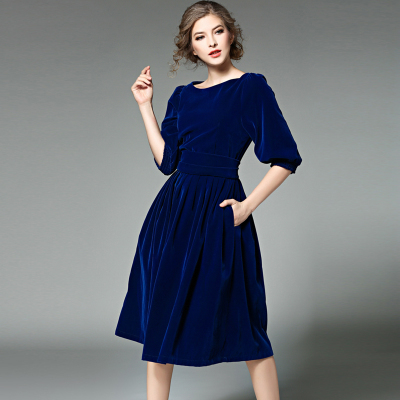 New Spring Women Three Quarter Sleeve Mid-calf Dress Ladies Fashion Velvet Party Dresses robe femme