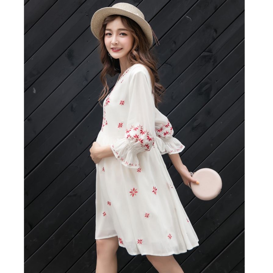 2018 Elegant Summer Woman Dress Chiffon Cute Maternity Dresses Pregnancy Clothes Floral Print V-Neck Bow Ruffles Plus Size plus v neck palm print dress