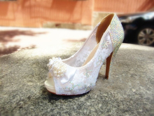 Luxury Vogue White Peep Toe Imitation Pearl Formal Shoes Crystal Wedding Shoes Lady Party Dress Shoes