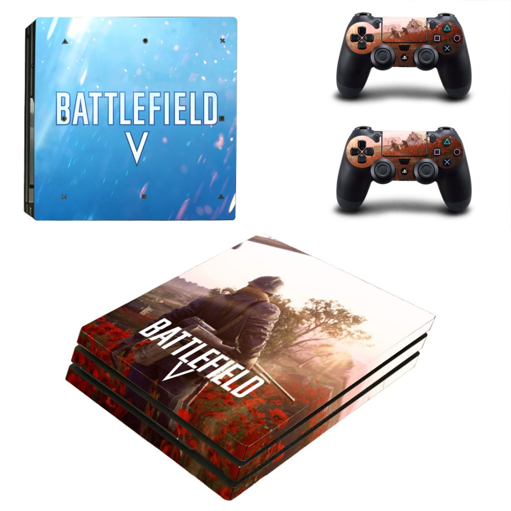 Game Battlefield V PS4 Pro Skin Sticker Decal for PlayStation 4 Console and 2 Controller PS4 Pro Skin Sticker Vinyl