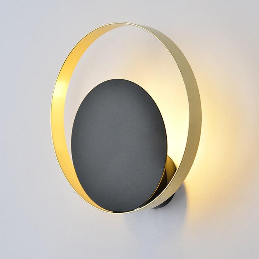 Applique murale moderne LED nordique G9 or noir rond créatif salle de bain miroir luminaire escalier allée chambre chevet applique
