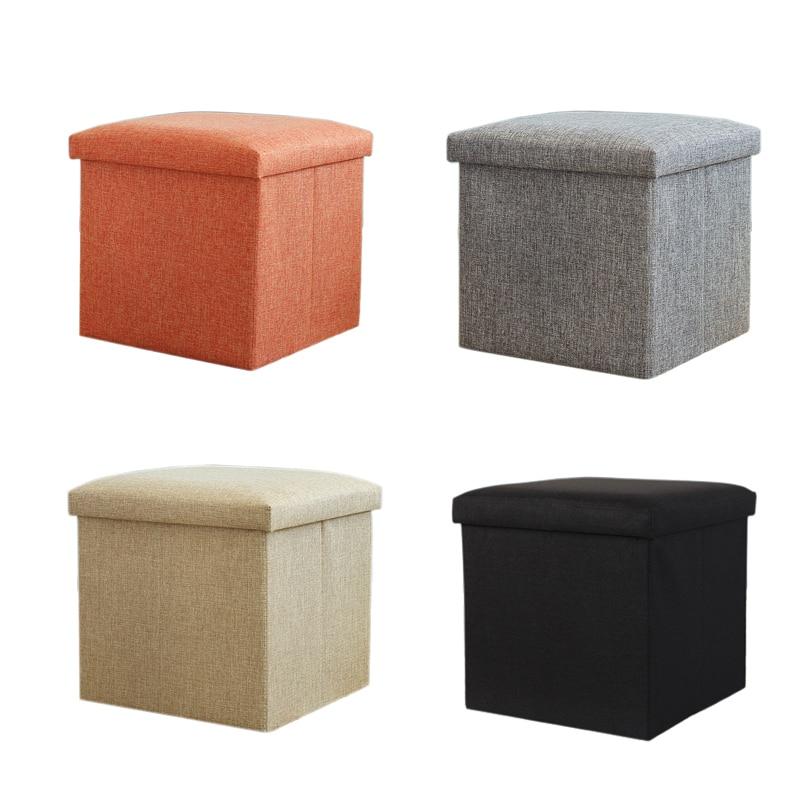 Multi Function Linen Storage Box Foldable Square Stool For Storage Clothes Books Toys Decoration Organizer