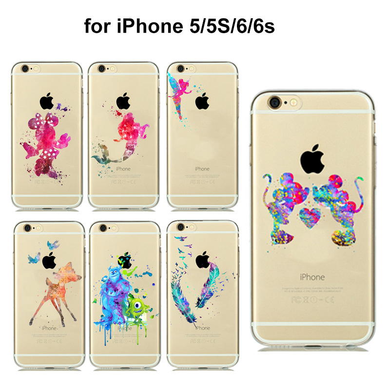 9392fe150b5 8 styles Colorful Mickey Minnie Mouse Dream catcher Feather Shell Cover for fundas  iPhone 5 5s 6 6S soft Transparent Clear Case