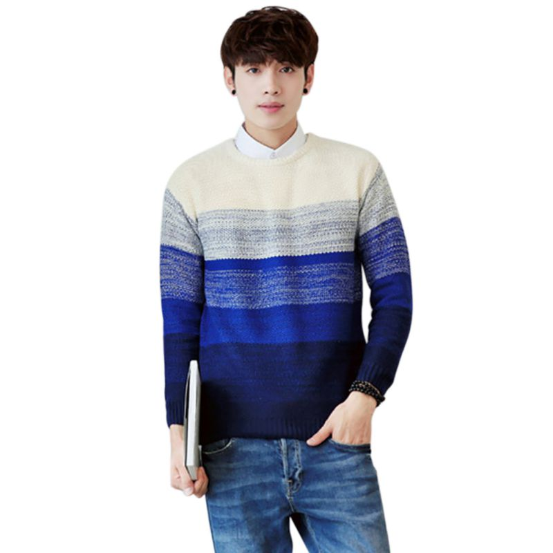 2019 Autumn Casual Men's Sweater O-Neck Striped Slim Fit Knittwear Mens Sweaters Pullovers Pullover Men Pull Homme M-2XL B