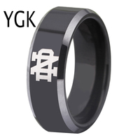 Free Shipping Customs Engraving Ring Hot Sales 8MM Black With Shiny Edges Notre Dame Design Tungsten
