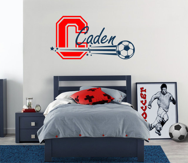 Sports Soccer Monogram Wall Stickers Fans Diy Home Decor Bedroom Personalized Name Decals Art