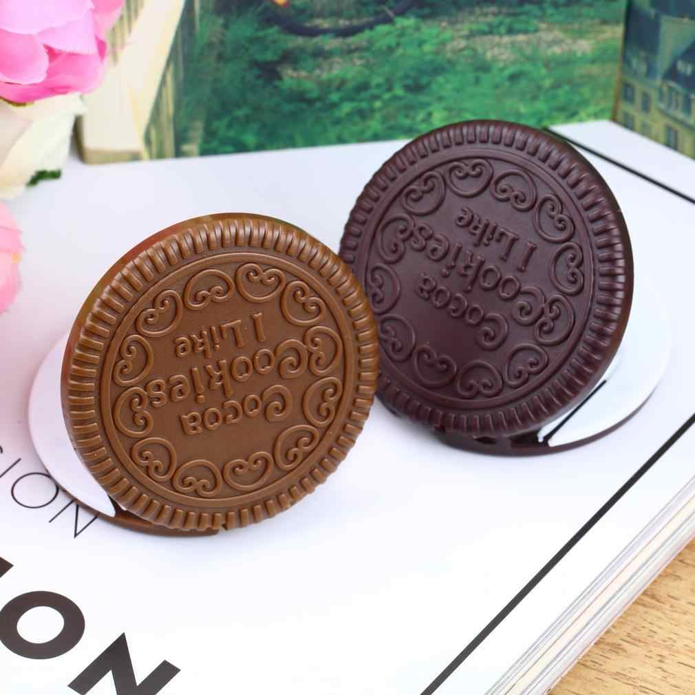 Promotion New arrival Super Deals Brown Cute Cookie Shaped Design Mirror Makeup Chocolate Comb pocket Mirror can stand Mirror
