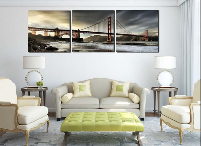 Free Shipping 3 Panels Home Deco Canvas Prints San Francisco Oil Painting  Great Buildings Beautiful Golden