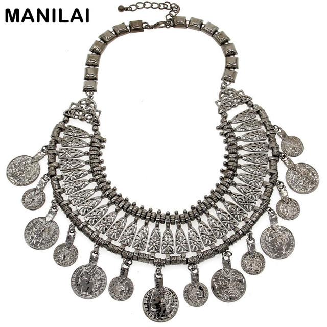 e89031ee09 MANILAI Gypsy Beachy Chic Statement Necklace Boho Festival Fringe Bib Coin  Tassels Vintage India / Tribal Necklaces & Pendants-in Choker Necklaces ...