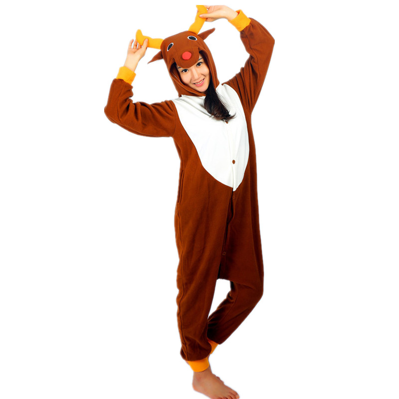 Rusa Krismas Onesie Kostum Fleece Jumpsuit Untuk - Kostum karnival - Foto 1