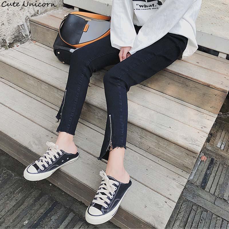 Cute Unicorn black Jeans 2018 Spring Autumn Women Fashion Skinny Ankle-Length Trousers zipper Asymmetrical Burr Hem Pencil Pants
