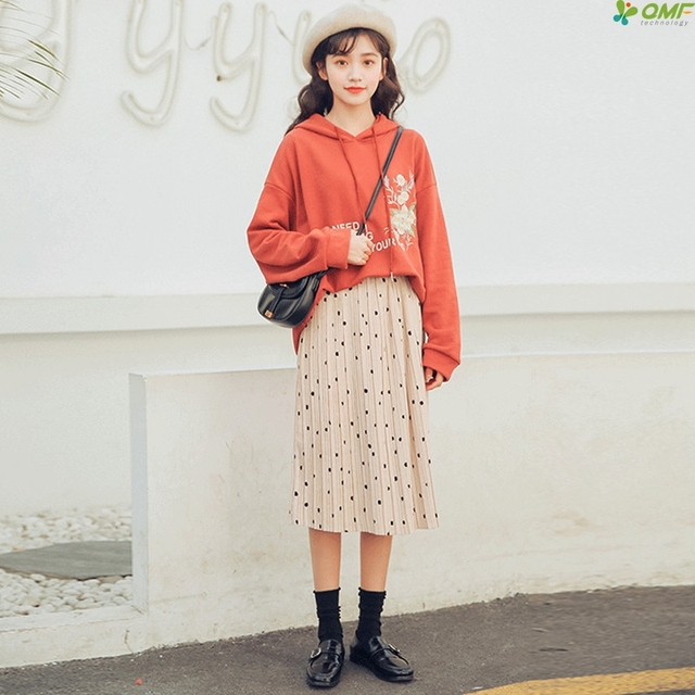 a4450e1f3a3 Dot Sweet Midi Skirts Women Korean Pleated Skirt Fresh All Match Summer  Skirts Elastic Waist Casual Jupe Femme 2018 Plus Size