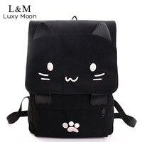 Милый Кот холщовый рюкзак мультфильм вышивка рюкзаки для девочек-подростков школьная сумка модная черная печать рюкзак mochilas XA69H