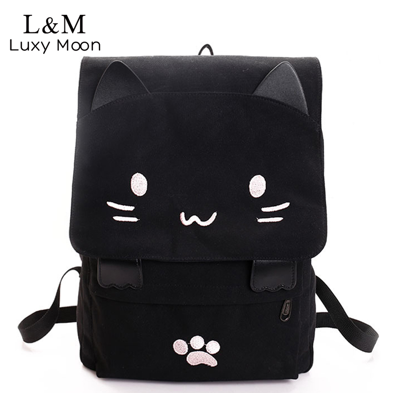 Cute Cat Canvas Backpack Cartoon Embroidery Backpacks For Teenage Girls School Bag Fashio Black Printing Rucksack Mochilas XA69H