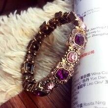 Retro Luxury Purple Zircon Bracelet European and American Fashion Temperament Stretch