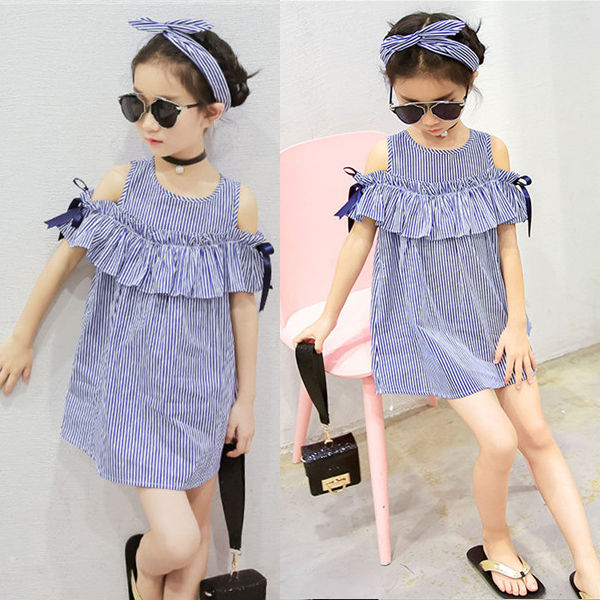 Toddler Kids Baby Girls Dress Summer Clothes Striped Off-shoulder Party Gown Formal Dress Bow Headband 6