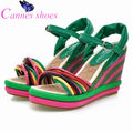 cannes 2016 New fashion sandals wedges shoes for women high heels platform sandals color block decoration straw braid plus size