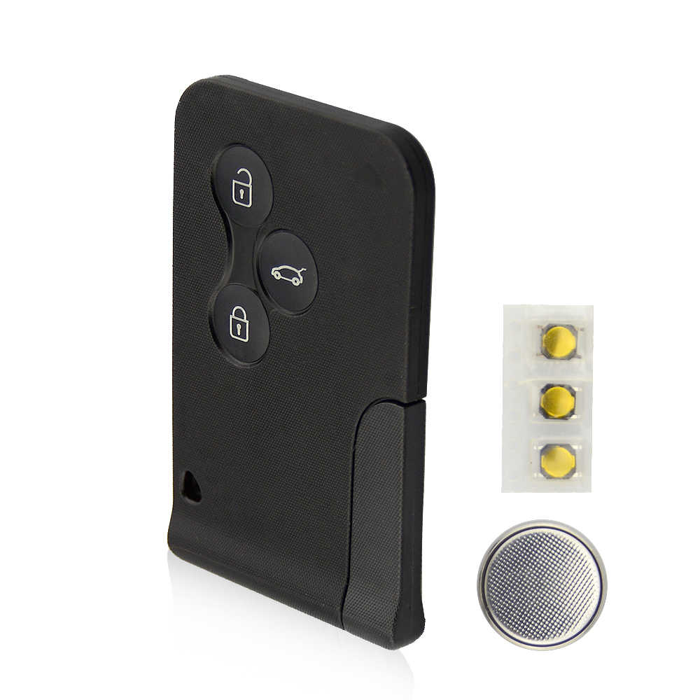 Okeytech Smart Card 3 Tombol untuk Renault Clio Logan Megane 2 3 Koleos Indah Kartu Case Hitam Mobil Kunci Fob shell dengan Kunci Kecil