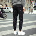 Corea Casual Pantalones Cargo Pantalones de Primavera 2017 Nuevos Mens Joggers Moda Diseño de Los Bolsillos laterales Pantalones Hombre Pantalones Más El Tamaño de Los Hombres 5XL negro