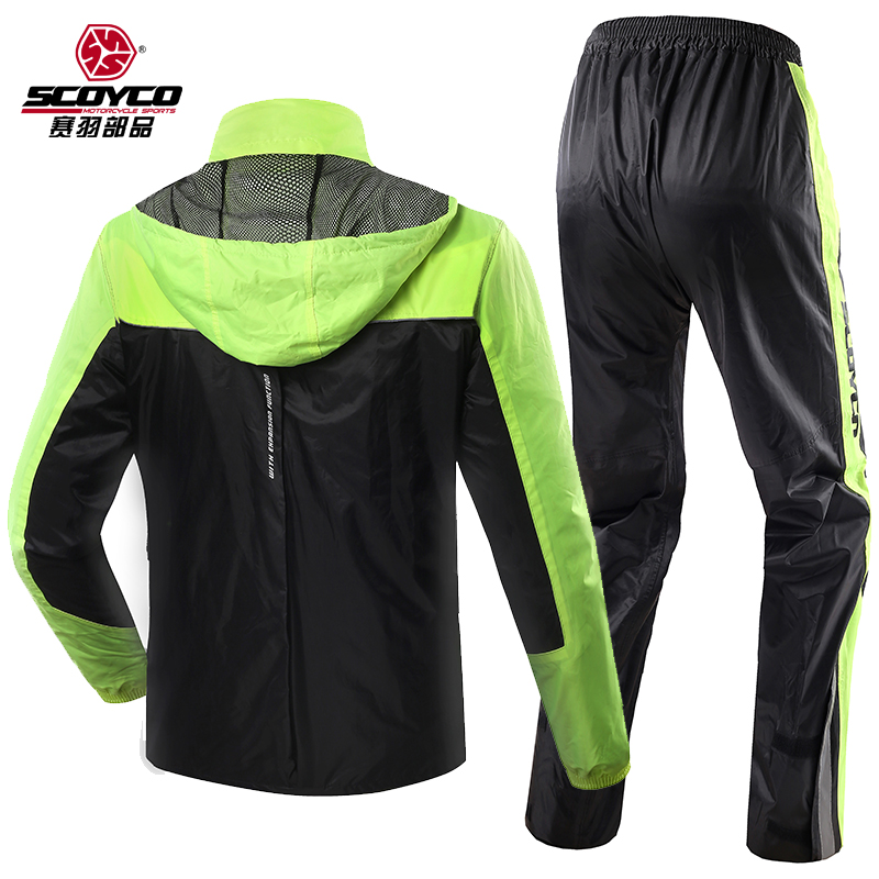 2017 Summer New Scoyco motorcycle riding raincoat rain pants suit men split waterproof waterproof at night can reflective RC01 reflective raincoat rain pants waterproof single raincoat men and women for riding working free shipping