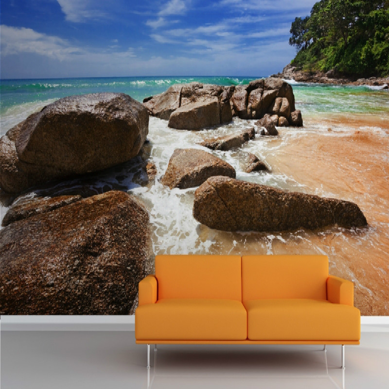 Shoreline Wall photo moisture-proof Mural 3D wallpaper for walls background living room bedroom home improvement wallpaper free shipping basketball star ktv background wall moisture proof high quality bedroom living room custom mural wallpaper