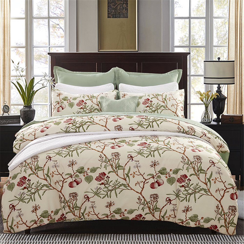 4 Pieces Luxury Bedding Set Queen Size Adult Duvet Cover 2 Persons Bed Linens Euro Set Quilt Cover Bed Sheets Pillow Cover