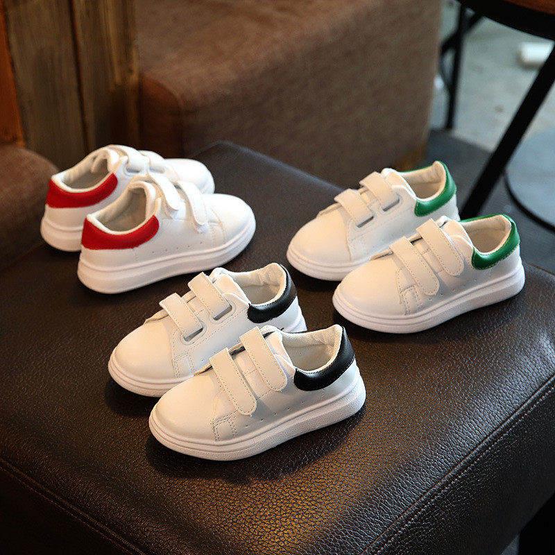 Musim semi dan musim gugur 2018 kulit putih baru lembut nyaman tahan air laki-laki dan perempuan sepatu sepatu anak-anak