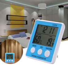 Sale Digital LCD Humidity Meter Hygrometer Thermometer Clock Indoor Outdoor Moisture Meters