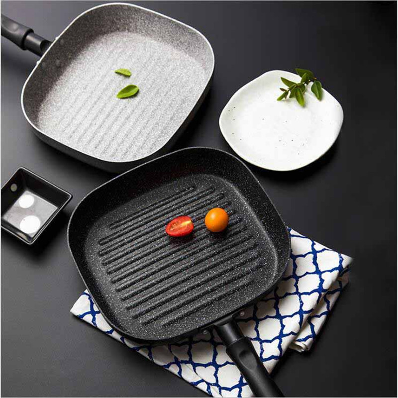 22x24 CM No Oil smoke Steak Frying Pan Breakfast Frying Eggs General Use for Gas and Induction Cooker Non Stick Pans 11