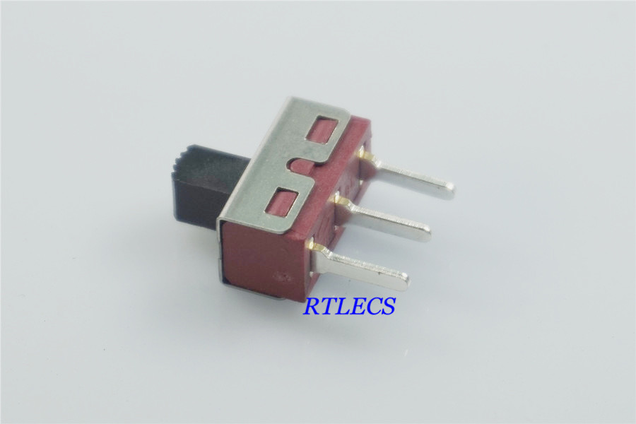 10pcs Slide Switch 1P2T SPDT 3 pin Rating 2A 125V Red insulator Knob height 5.0mm Non-Shorting 20pcs lot 3 pin pcb 2 position 1p2t spdt miniature slide switch side knob sk12d07vg4 dsc0039