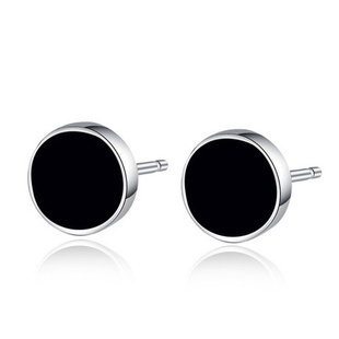 925 Sterling Silver Earrings Korean Black For Men Stud Fashion Nature Agate