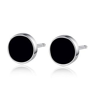 925 Sterling Silver Earrings Korean Black For Men Stud Fashion Nature Agate