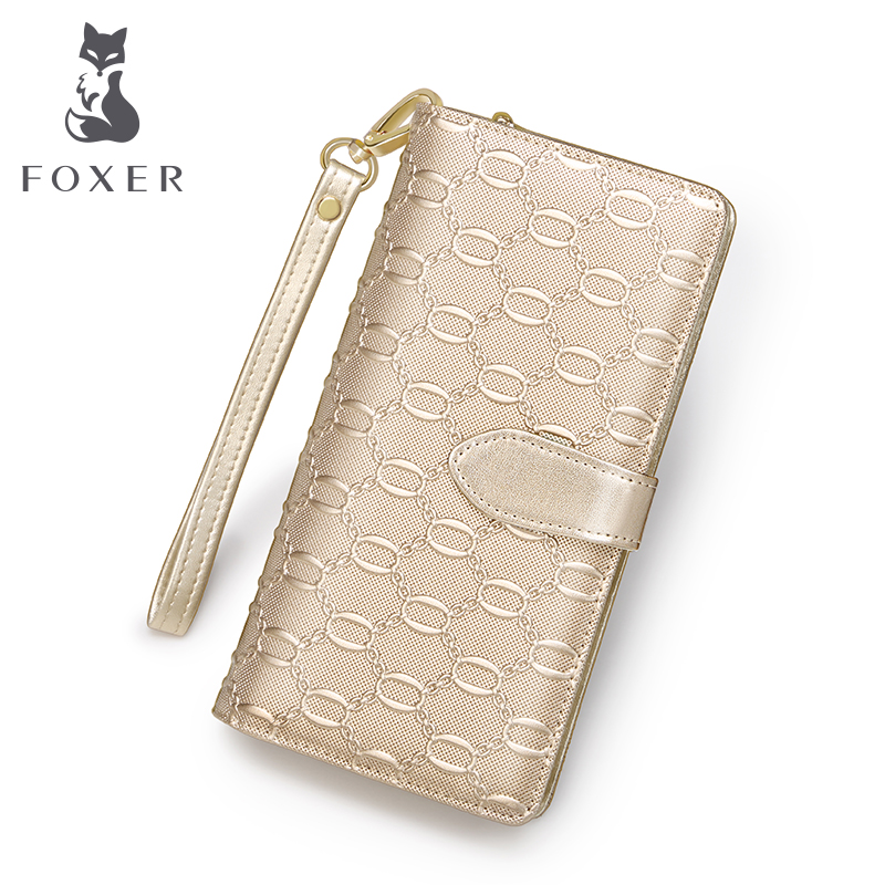 ФОТО FOXER Brand Women Casual Leather Wallets & Clutch Bags Famous designer Women Purse Fashion Gold Female Leather long Wallet