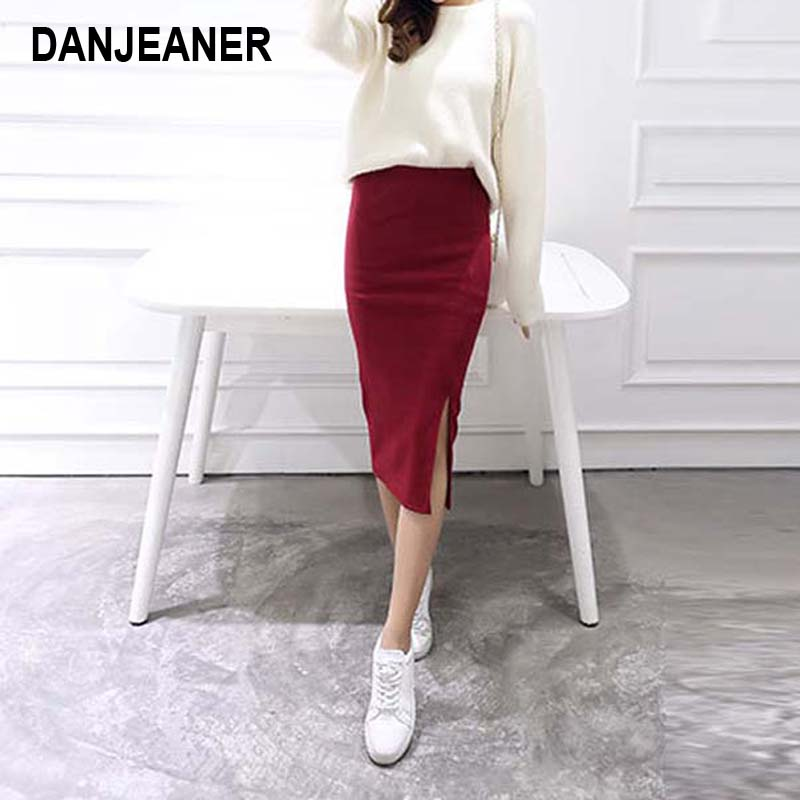 2016 Summer skirts  Chic Pencil Skirts Women Skirt Wool Rib Knit Long Skirt Package Hip Split Waist midi skirt maxi A919