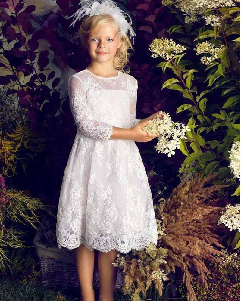 First Communion Dresses for Girls 2019 A Line White Lace Appliques Long Sleeve Flower Girl Dresses