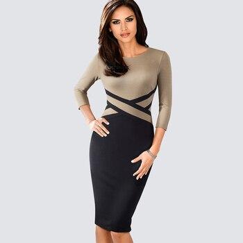 Autumn Women Elegant Patchwork Sheath Bodycon Work Office Business Pencil Dress 3