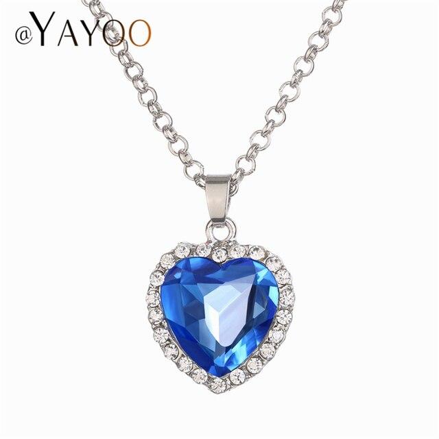 dc0734f53430 AYAYOO clásico largo collar mujeres corazón azul oscuro imitación de  cristal collares y colgantes de plata