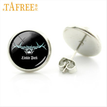 TAFREE Linkin Park logo Stud Earrings on a black background fashion American Accessories for men women Vintage jewelry c139(China)