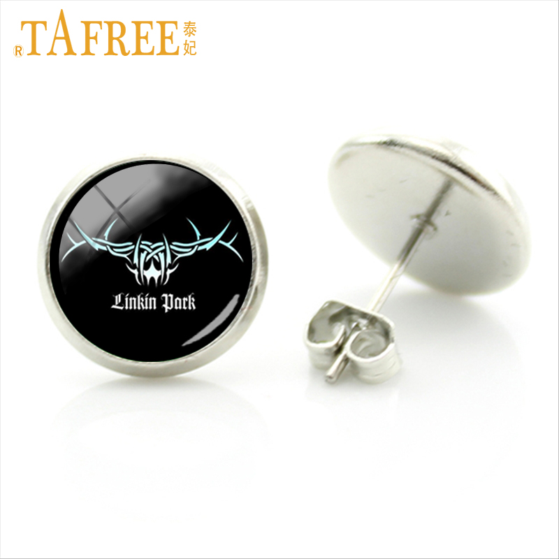 TAFREE Linkin Park logo Stud Earrings on a black background fashion American Accessories for men women Vintage jewelry c139