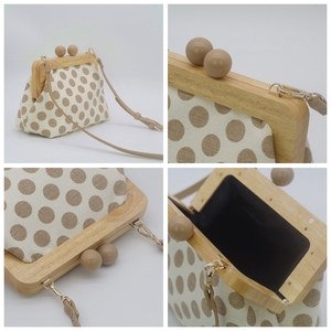 Image 5 - Dot Wooden Clip Bags for Women Canvas Womens Shoulder Bag Retro Crossbody Bags Designer Brand Ladies Clutch Purse Messenger Bag